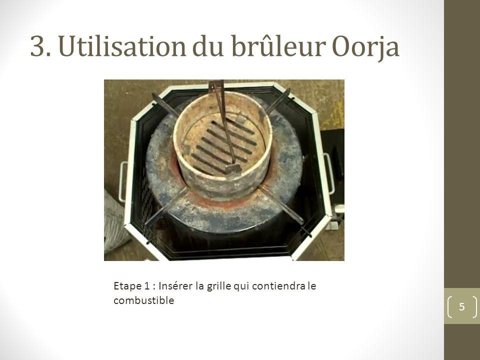3. Utilisation du brûleur Oorja Etape 1 : Insérer la grille qui contiendra le combustible 5
