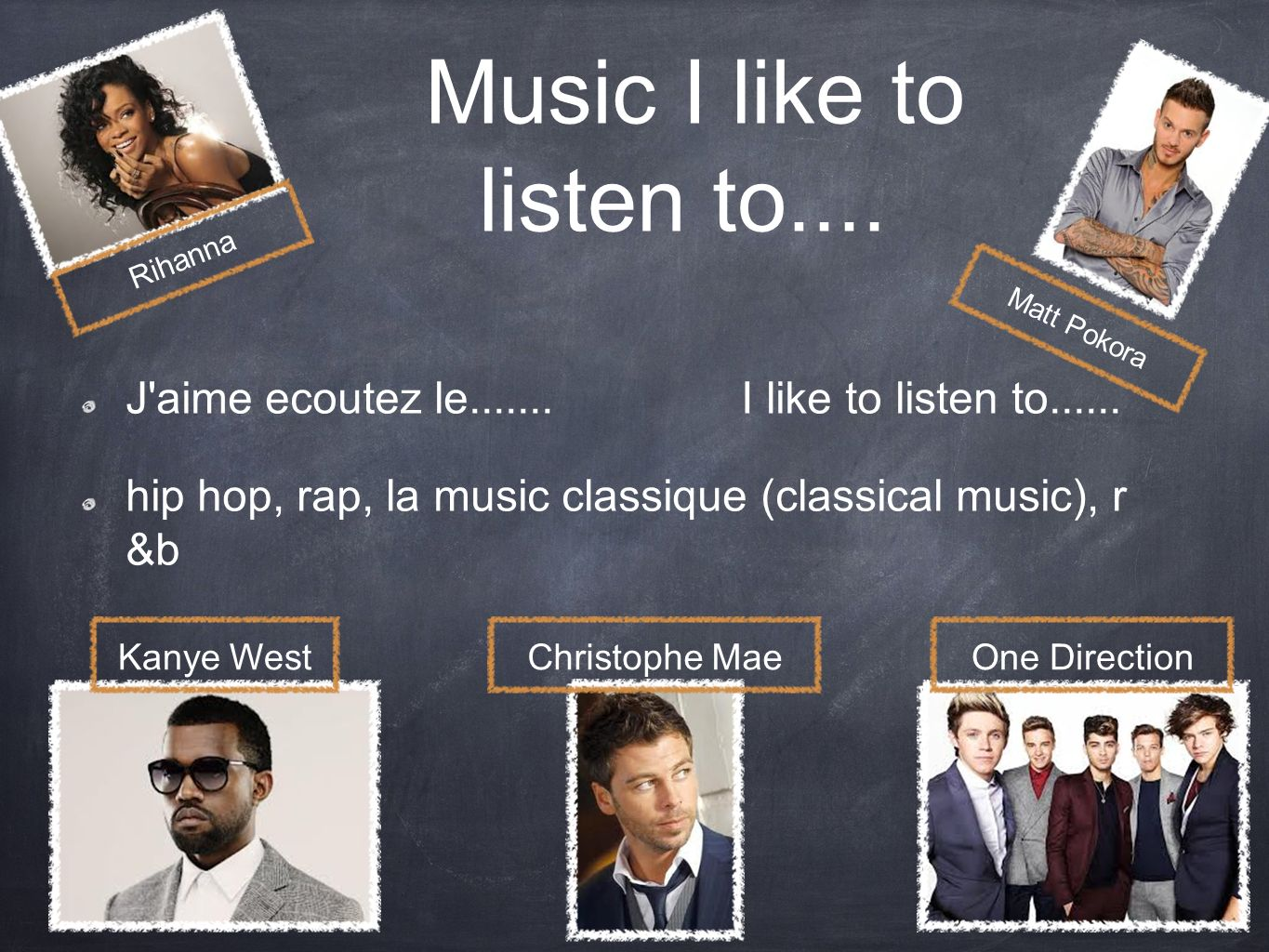 Music I like to listen to.... J'aime ecoutez le....... I like to listen to...... hip hop, rap, la music classique (classical music), r &b Matt Pokora