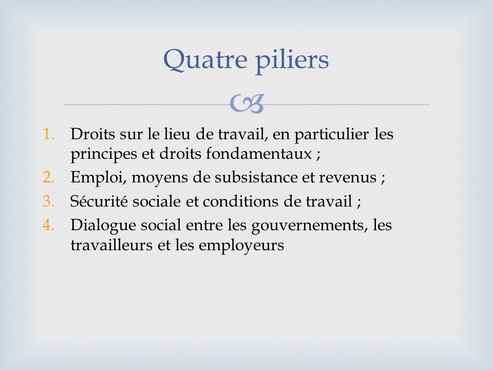 1.Droits sur le lieu de travail, en particulier les principes et droits fondamentaux ; 2.Emploi, moyens de subsistance et revenus ; 3.Sécurité sociale