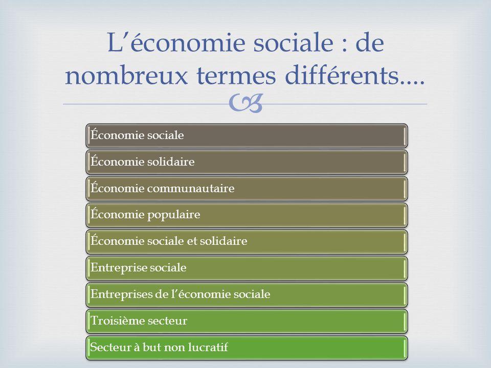 Léconomie sociale : de nombreux termes différents.... Économie socialeÉconomie solidaireÉconomie communautaireÉconomie populaireÉconomie sociale et so