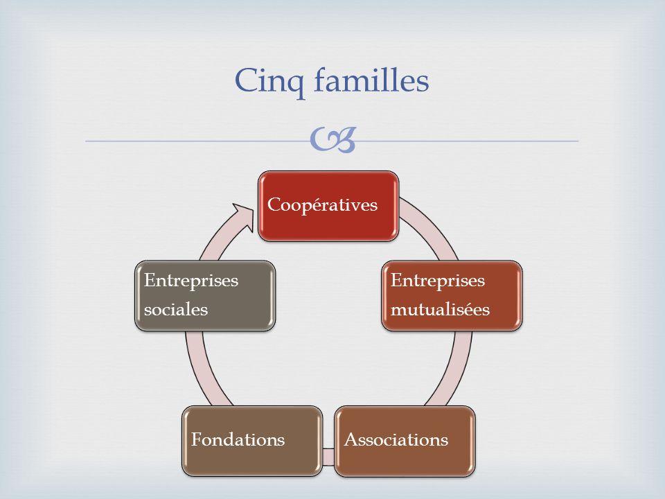 Cinq familles Coopératives Entreprises mutualisées AssociationsFondations Entreprises sociales