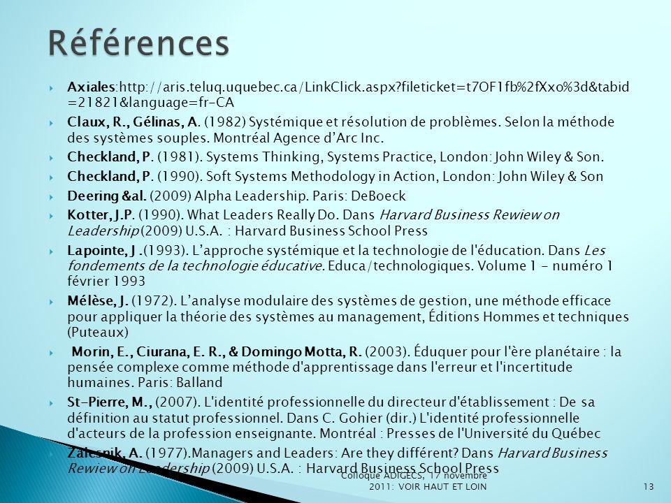 Axiales:http://aris.teluq.uquebec.ca/LinkClick.aspx?fileticket=t7OF1fb%2fXxo%3d&tabid =21821&language=fr-CA Claux, R., Gélinas, A. (1982) Systémique e