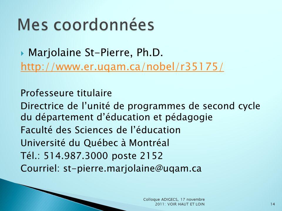 Marjolaine St-Pierre, Ph.D. http://www.er.uqam.ca/nobel/r35175/ Professeure titulaire Directrice de lunité de programmes de second cycle du départemen