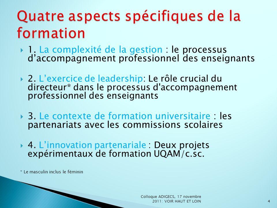 1. La complexité de la gestion : le processus daccompagnement professionnel des enseignants 2. Lexercice de leadership: Le rôle crucial du directeur*