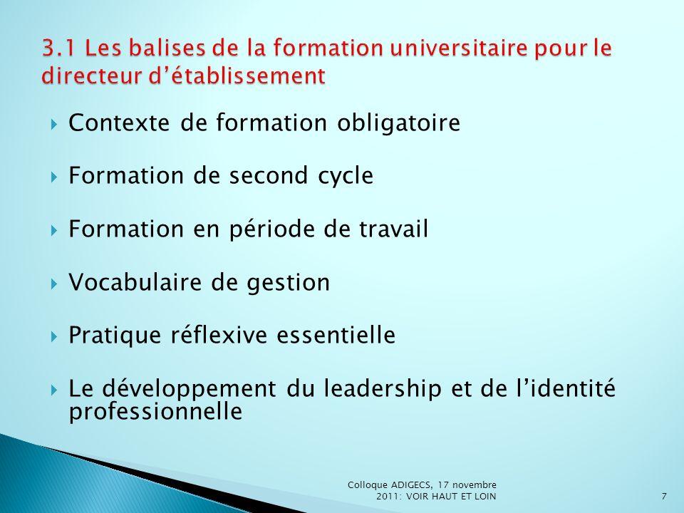 Contexte de formation obligatoire Formation de second cycle Formation en période de travail Vocabulaire de gestion Pratique réflexive essentielle Le d