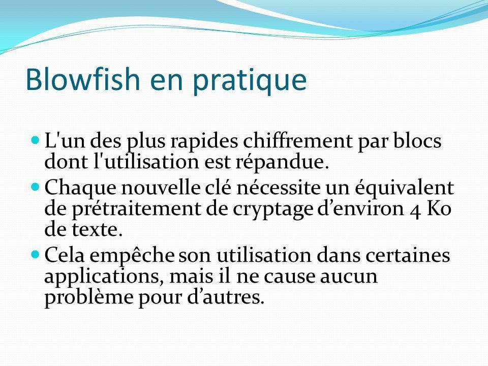 Blowfish en pratique L'un des plus rapides chiffrement par blocs dont l'utilisation est répandue. Chaque nouvelle clé nécessite un équivalent de prétr