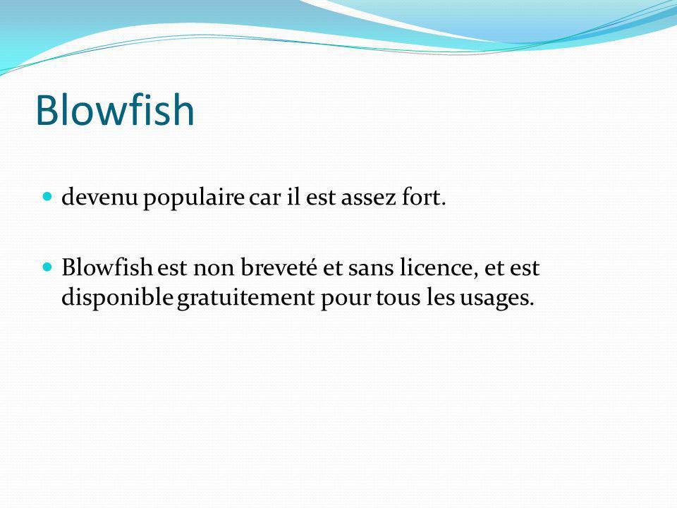 Blowfish devenu populaire car il est assez fort. Blowfish est non breveté et sans licence, et est disponible gratuitement pour tous les usages.
