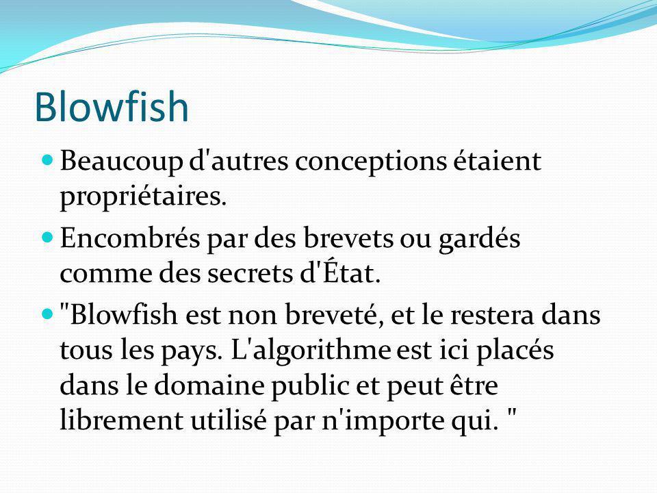 Blowfish Beaucoup d'autres conceptions étaient propriétaires. Encombrés par des brevets ou gardés comme des secrets d'État.