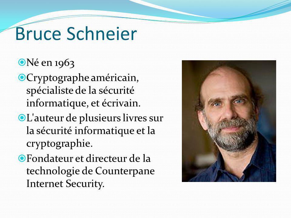 Bruce Schneier Né en 1963 Cryptographe américain, spécialiste de la sécurité informatique, et écrivain. L'auteur de plusieurs livres sur la sécurité i