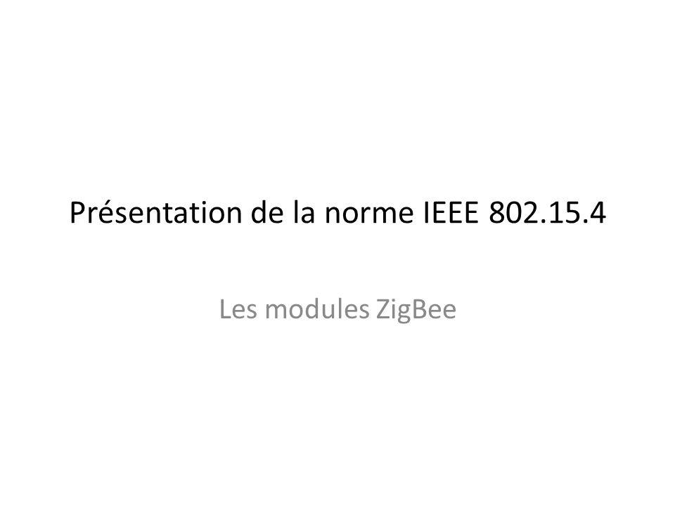 ZigBee est un protocole de haut niveau permettant la communication de petites radios, à consommation réduite, basée sur la norme IEEE 802.15.4 pour les réseaux à dimension personnelle (Wireless Personal Area Networks : WPANs).
