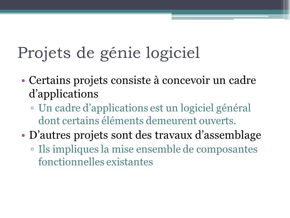 Projets de génie logiciel Certains projets consiste à concevoir un cadre dapplications Un cadre dapplications est un logiciel général dont certains él