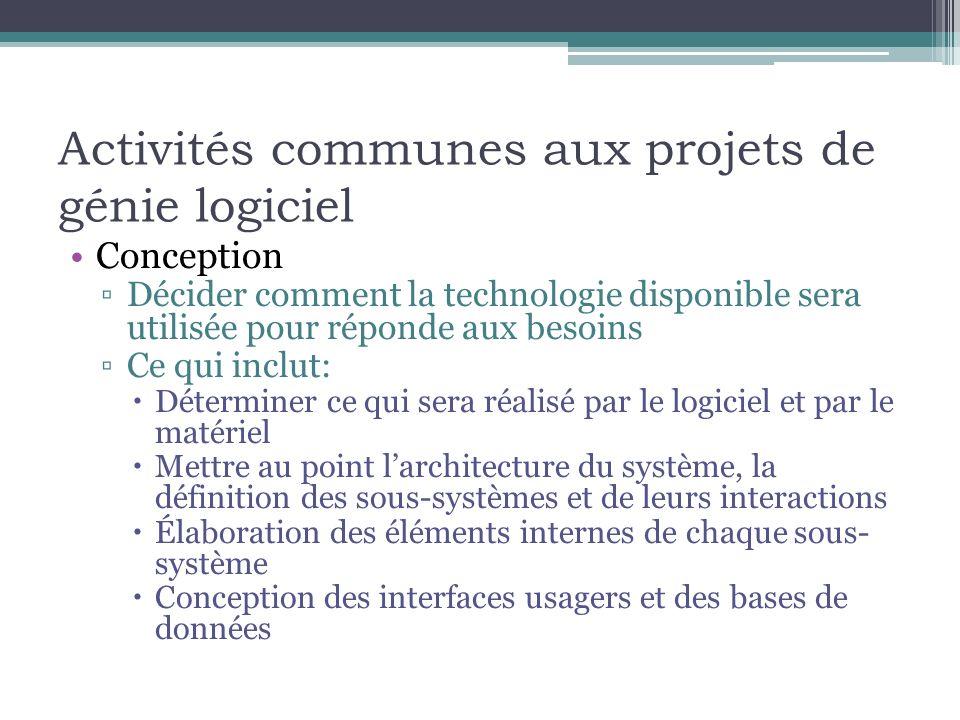 Activités communes aux projets de génie logiciel Conception Décider comment la technologie disponible sera utilisée pour réponde aux besoins Ce qui in