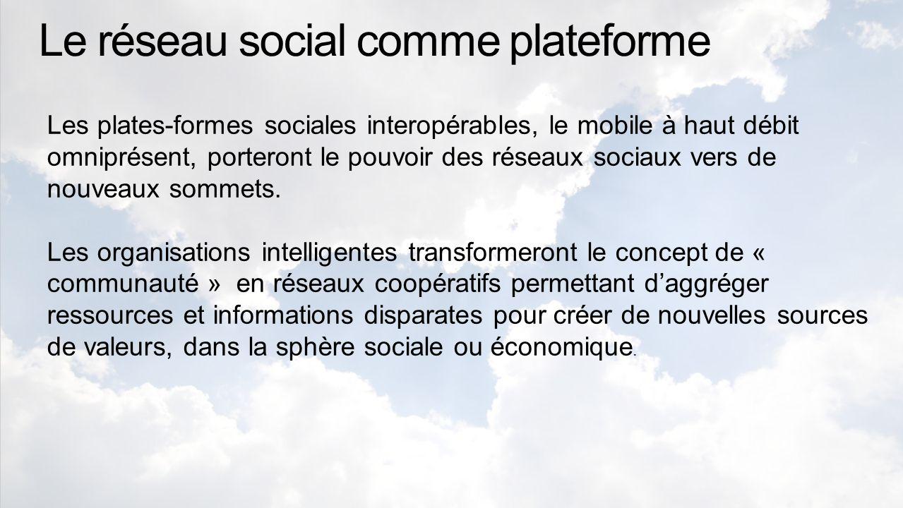 Le réseau social comme plateforme Les plates-formes sociales interopérables, le mobile à haut débit omniprésent, porteront le pouvoir des réseaux sociaux vers de nouveaux sommets.
