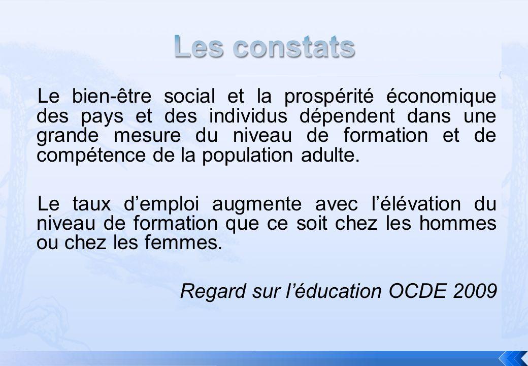 Le bien-être social et la prospérité économique des pays et des individus dépendent dans une grande mesure du niveau de formation et de compétence de la population adulte.
