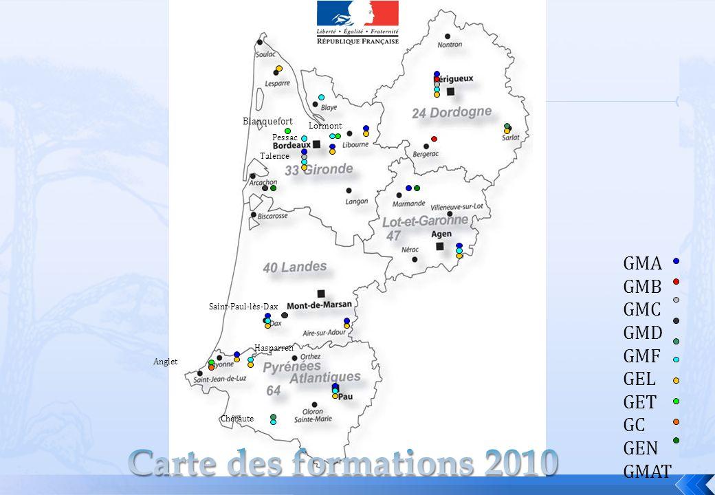 GMA GMB GMC GMD GMF GEL GET GC GEN GMAT Pessac Blanquefort Talence Saint-Paul-lès-Dax Hasparren Anglet Chéraute Lormont