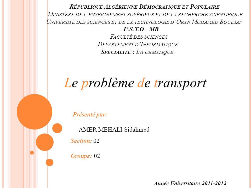 LE PROBLÈME DE TRANSPORT INTRODUCTION La gestion du problème de transport est parmi les préoccupations majeures des entreprises.