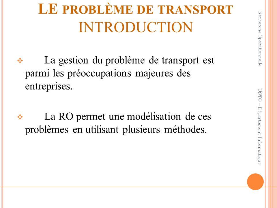 LE PROBLÈME DE TRANSPORT INTRODUCTION La gestion du problème de transport est parmi les préoccupations majeures des entreprises. La RO permet une modé