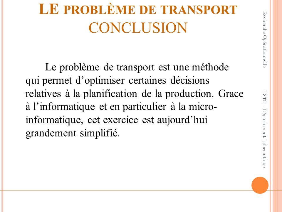 LE PROBLÈME DE TRANSPORT CONCLUSION Le problème de transport est une méthode qui permet doptimiser certaines décisions relatives à la planification de