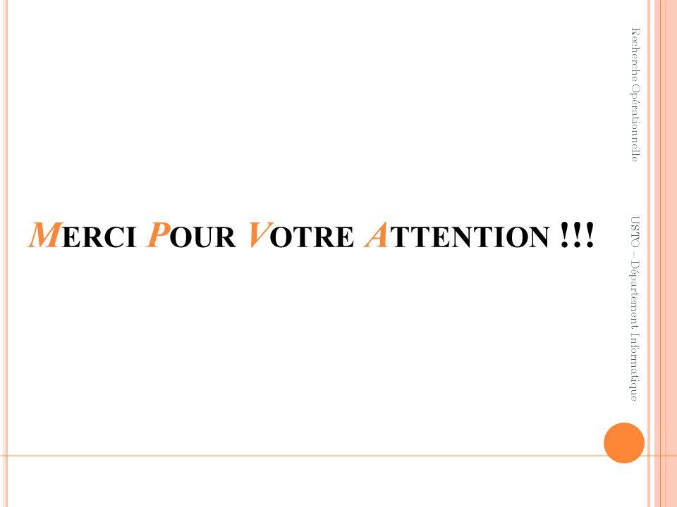 M ERCI P OUR V OTRE A TTENTION !!! Recherche Opérationnelle USTO – Département Informatique