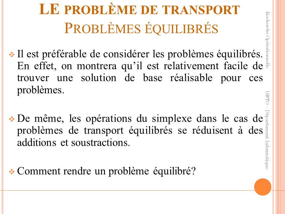 LE PROBLÈME DE TRANSPORT P ROBLÈMES ÉQUILIBRÉS Il est préférable de considérer les problèmes équilibrés. En effet, on montrera quil est relativement f