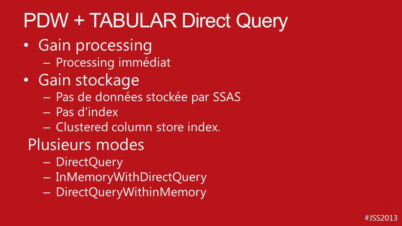 #JSS2013 Gain processing – Processing immédiat Gain stockage – Pas de données stockée par SSAS – Pas dindex – Clustered column store index. Plusieurs
