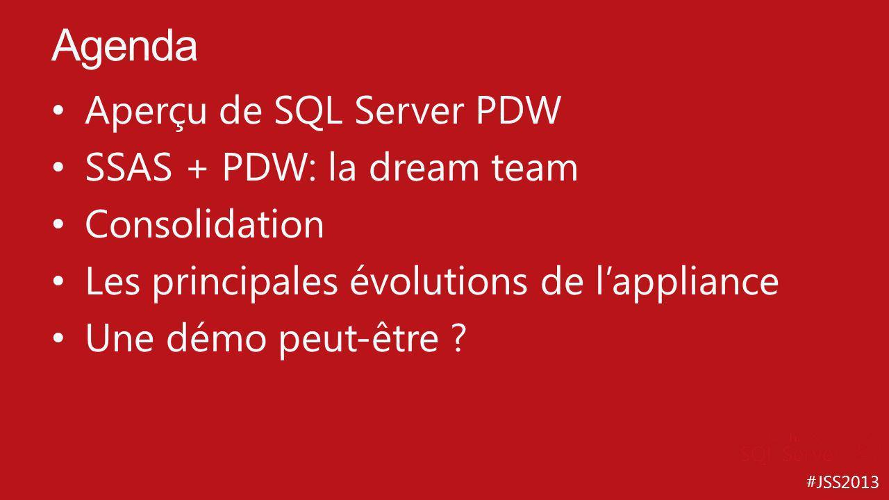 #JSS2013 Aperçu de SQL Server PDW SSAS + PDW: la dream team Consolidation Les principales évolutions de lappliance Une démo peut-être ? Agenda