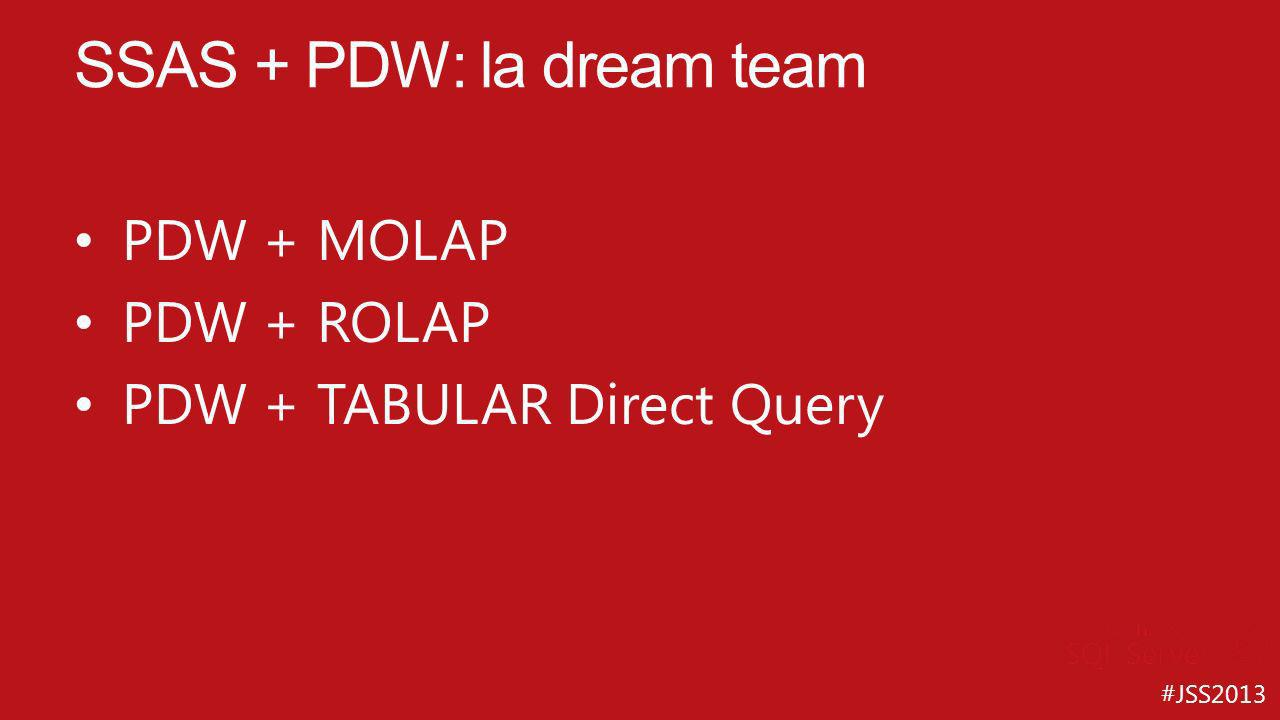 #JSS2013 PDW + MOLAP PDW + ROLAP PDW + TABULAR Direct Query SSAS + PDW: la dream team