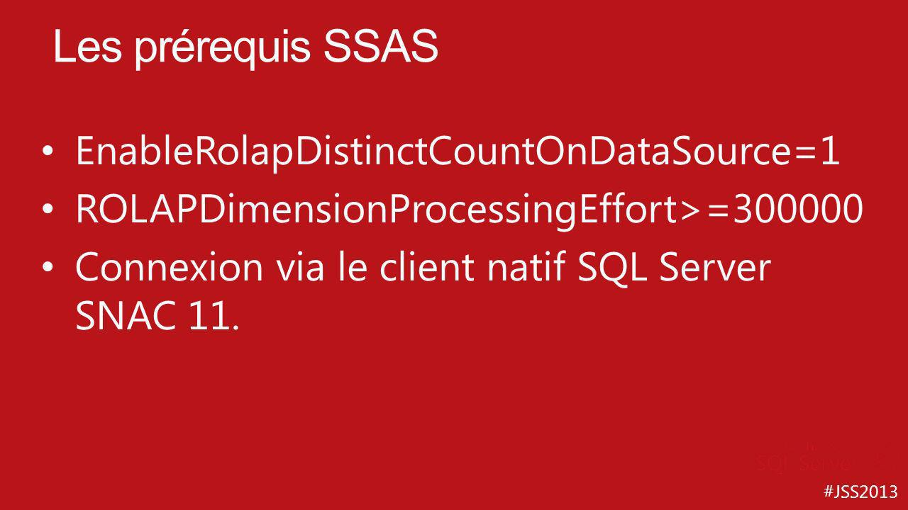 #JSS2013 EnableRolapDistinctCountOnDataSource=1 ROLAPDimensionProcessingEffort>=300000 Connexion via le client natif SQL Server SNAC 11. Les prérequis