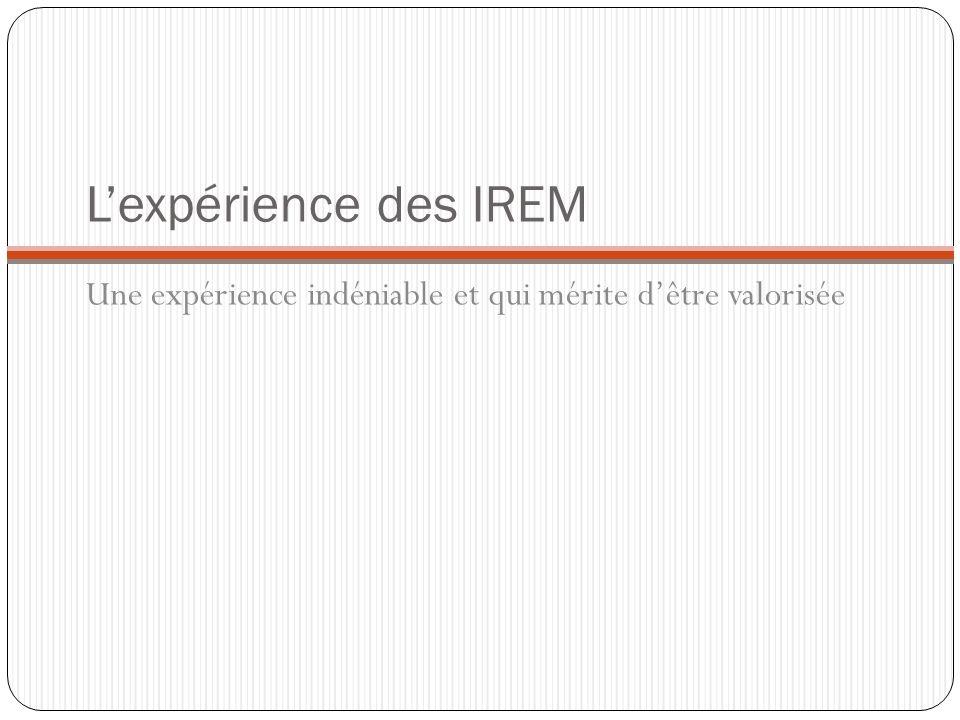 Lexpérience des IREM Une expérience indéniable et qui mérite dêtre valorisée