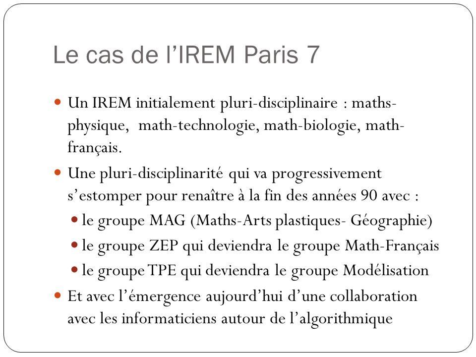 Le cas de lIREM Paris 7 Un IREM initialement pluri-disciplinaire : maths- physique, math-technologie, math-biologie, math- français. Une pluri-discipl