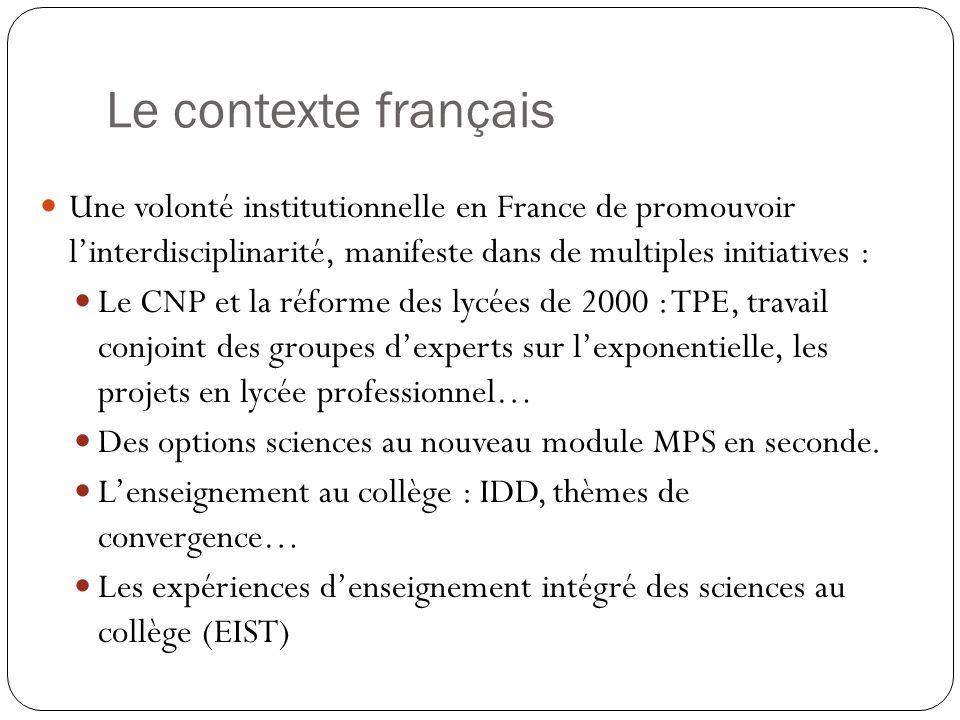 Le contexte français Une volonté institutionnelle en France de promouvoir linterdisciplinarité, manifeste dans de multiples initiatives : Le CNP et la