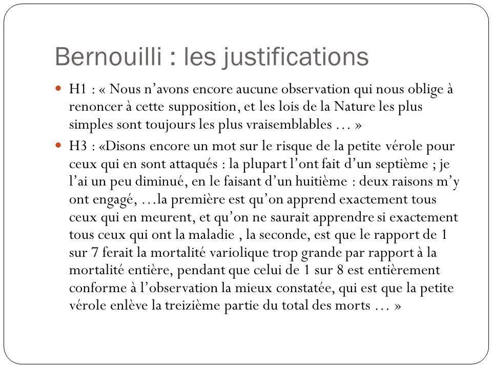 Bernouilli : les justifications H1 : « Nous navons encore aucune observation qui nous oblige à renoncer à cette supposition, et les lois de la Nature