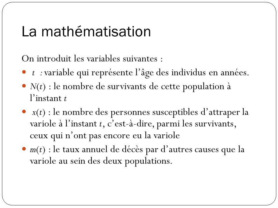La mathématisation On introduit les variables suivantes : t : variable qui représente lâge des individus en années. N(t) : le nombre de survivants de
