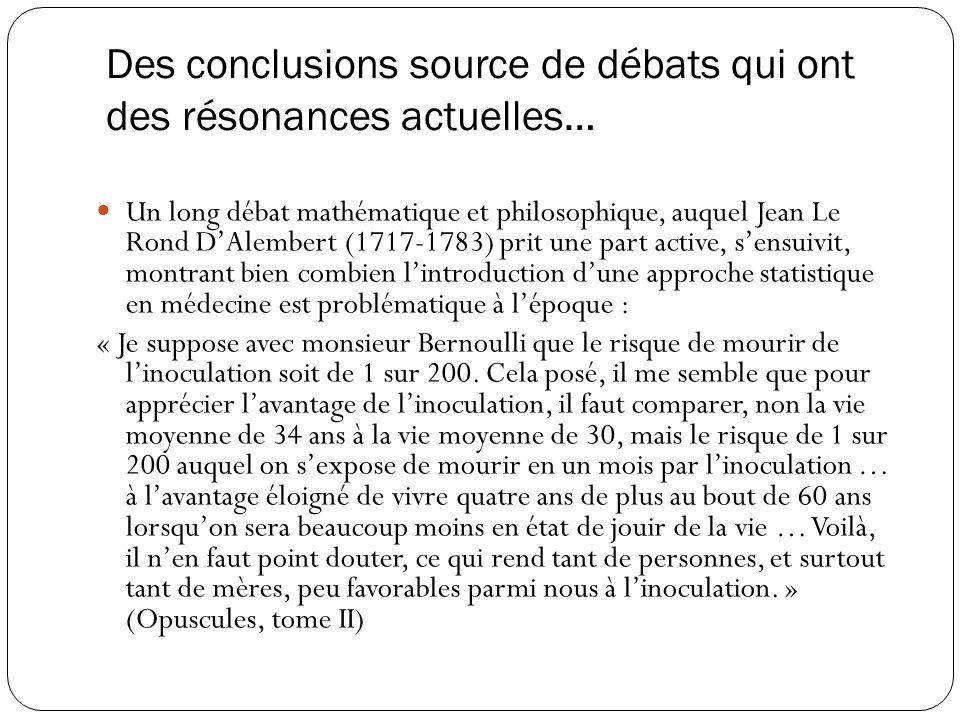 Des conclusions source de débats qui ont des résonances actuelles… Un long débat mathématique et philosophique, auquel Jean Le Rond DAlembert (1717-17