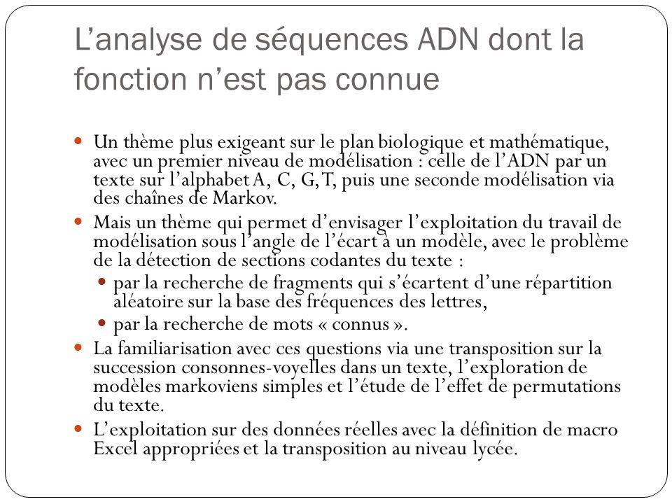 Lanalyse de séquences ADN dont la fonction nest pas connue Un thème plus exigeant sur le plan biologique et mathématique, avec un premier niveau de mo