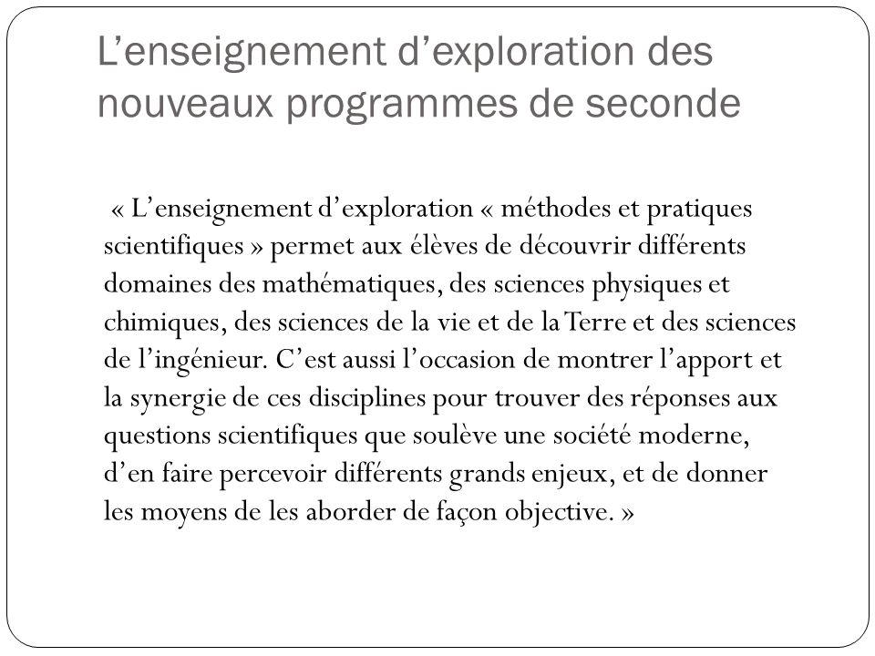 Lenseignement dexploration des nouveaux programmes de seconde « Lenseignement dexploration « méthodes et pratiques scientifiques » permet aux élèves d
