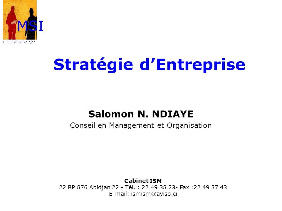 Stratégie dEntreprise Salomon N. NDIAYE Conseil en Management et Organisation MSI GPE EDHEC-Abidjan Cabinet ISM 22 BP 876 Abidjan 22 - Tél. : 22 49 38