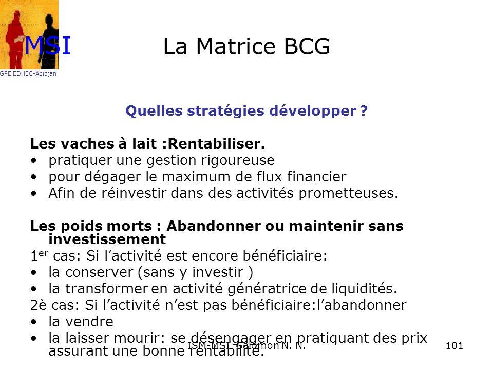 La Matrice BCG Quelles stratégies développer ? Les vaches à lait :Rentabiliser. pratiquer une gestion rigoureuse pour dégager le maximum de flux finan