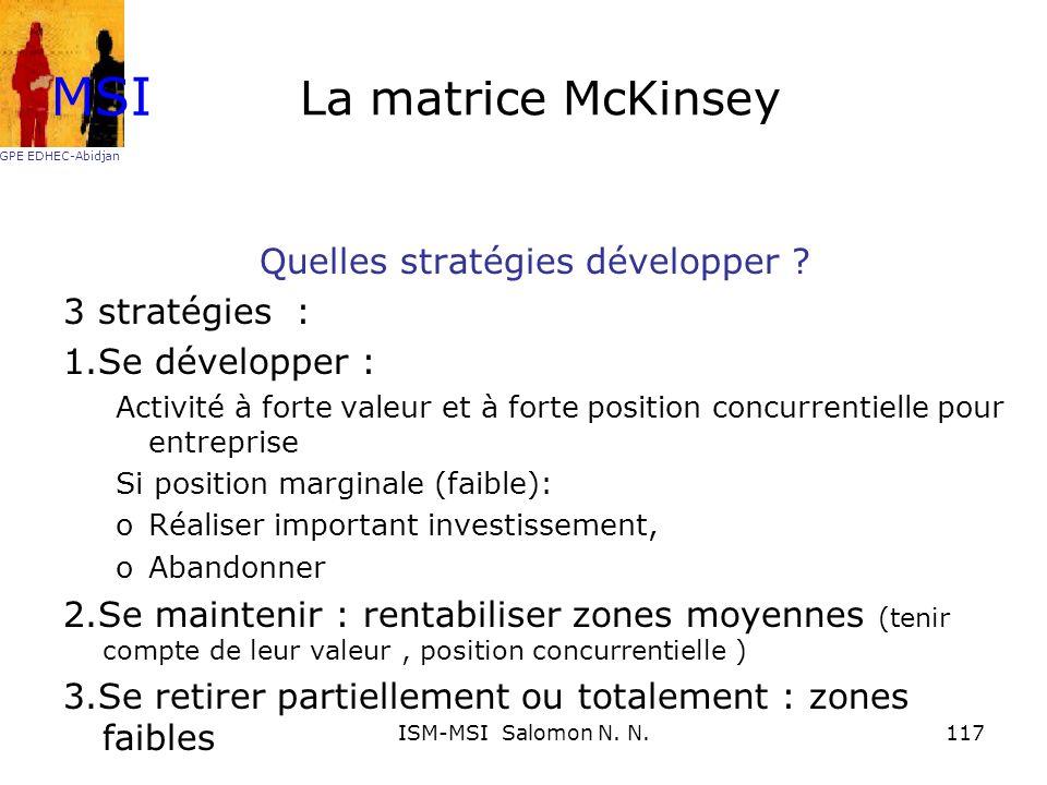La matrice McKinsey Quelles stratégies développer ? 3 stratégies : 1.Se développer : Activité à forte valeur et à forte position concurrentielle pour