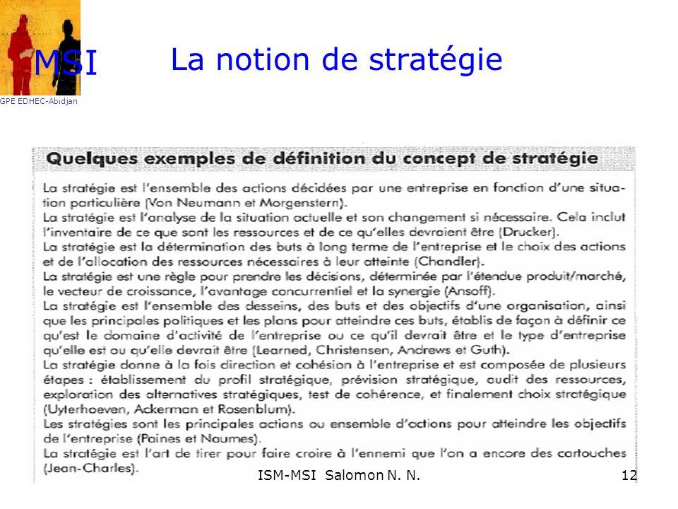 La notion de stratégie MSI GPE EDHEC-Abidjan 12ISM-MSI Salomon N. N.