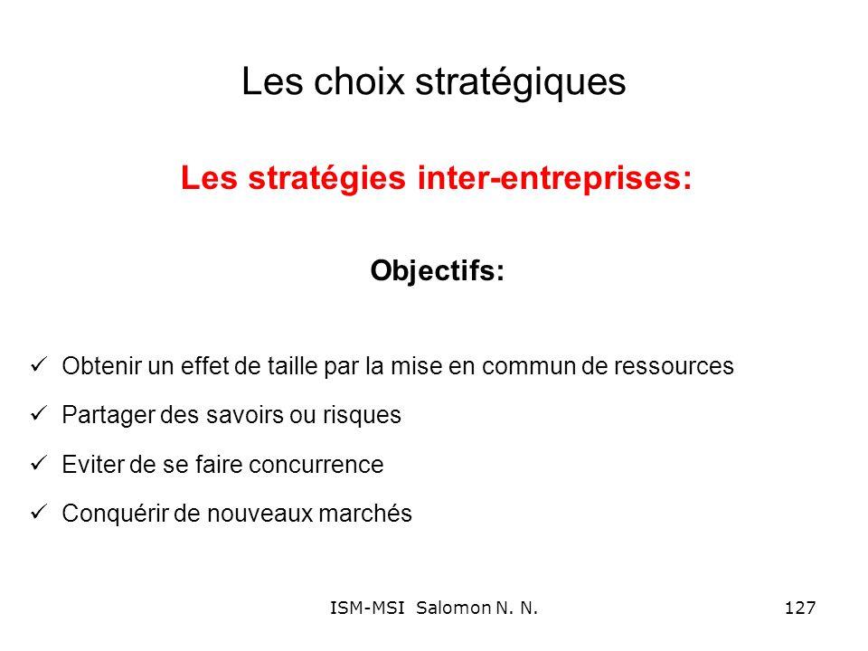 Les choix stratégiques Les stratégies inter-entreprises: Objectifs: Obtenir un effet de taille par la mise en commun de ressources Partager des savoir