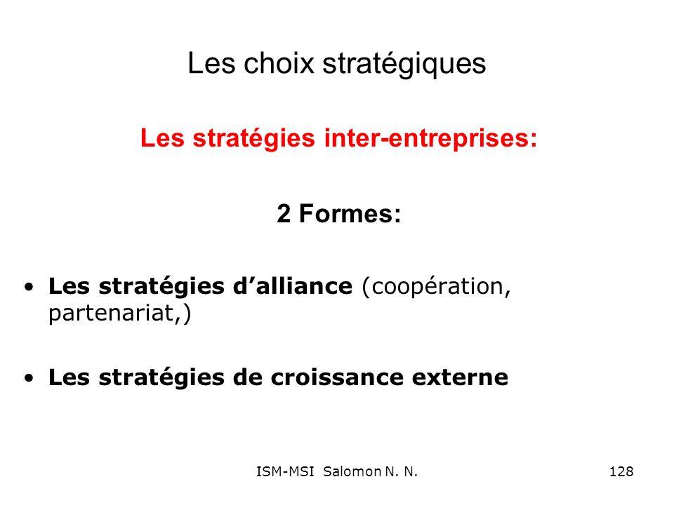 Les choix stratégiques Les stratégies inter-entreprises: 2 Formes: Les stratégies dalliance (coopération, partenariat,) Les stratégies de croissance e