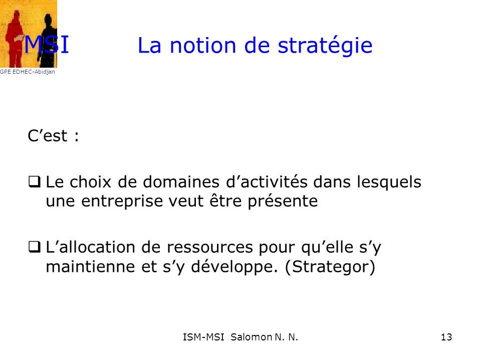 La notion de stratégie Cest : Le choix de domaines dactivités dans lesquels une entreprise veut être présente Lallocation de ressources pour quelle sy