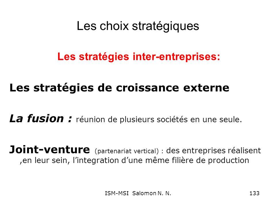 Les choix stratégiques Les stratégies inter-entreprises: Les stratégies de croissance externe La fusion : réunion de plusieurs sociétés en une seule.