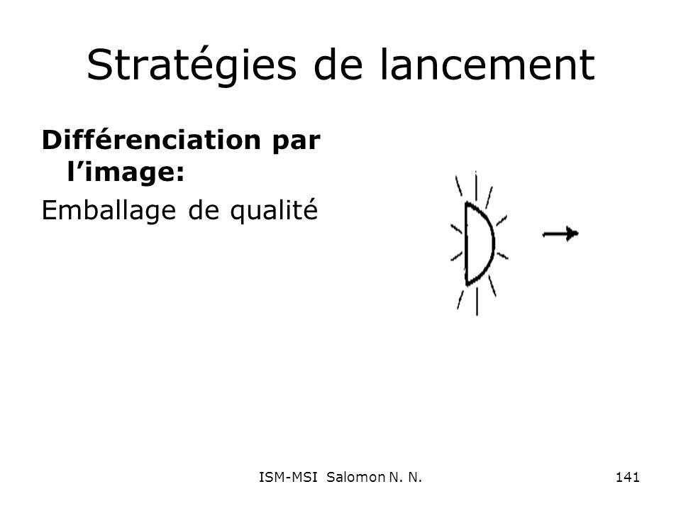 Stratégies de lancement Différenciation par limage: Emballage de qualité 141ISM-MSI Salomon N. N.