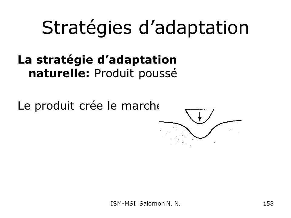 Stratégies dadaptation La stratégie dadaptation naturelle: Produit poussé Le produit crée le marché 158ISM-MSI Salomon N. N.