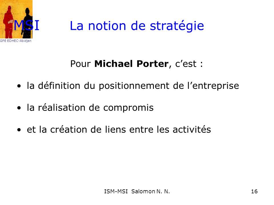 La notion de stratégie Pour Michael Porter, cest : la définition du positionnement de lentreprise la réalisation de compromis et la création de liens