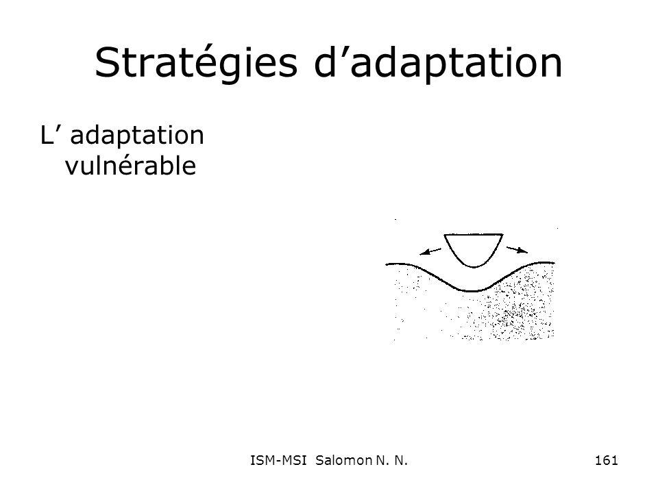 Stratégies dadaptation L adaptation vulnérable 161ISM-MSI Salomon N. N.