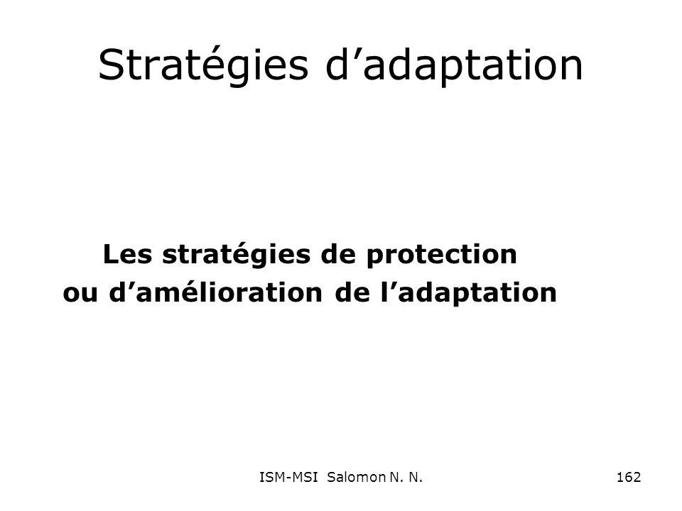 Stratégies dadaptation Les stratégies de protection ou damélioration de ladaptation 162ISM-MSI Salomon N. N.