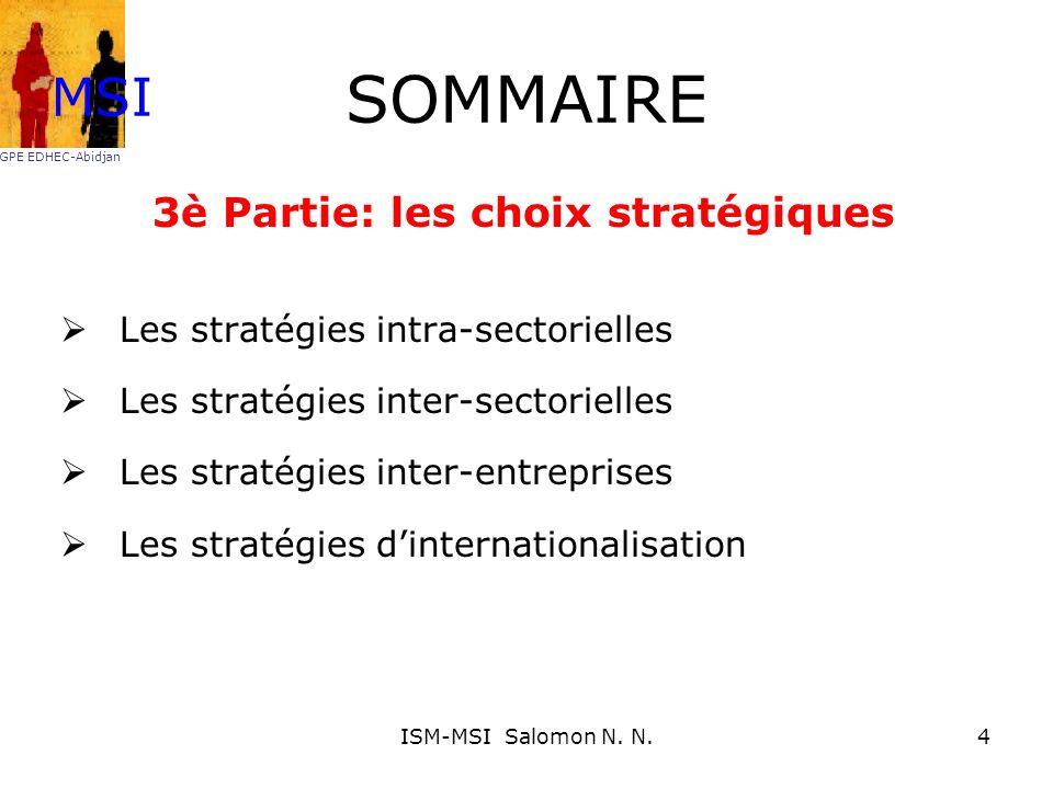 Position concurrentielle de lentreprise Appréciation des : Ressources Compétences à acquérir ou maîtriser de manière générale MSI GPE EDHEC-Abidjan 55ISM-MSI Salomon N.